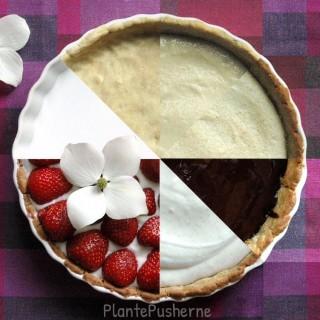 Jordbærtærte (vegansk, glutenfri, 'sukkerfri')