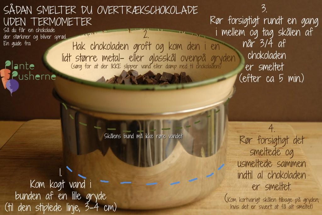 Hvordan smelter man chokolade uden termometer
