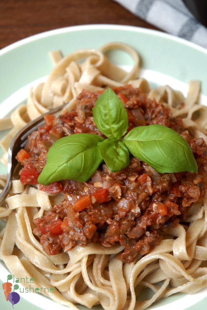 Vegansk pasta med kødsovs