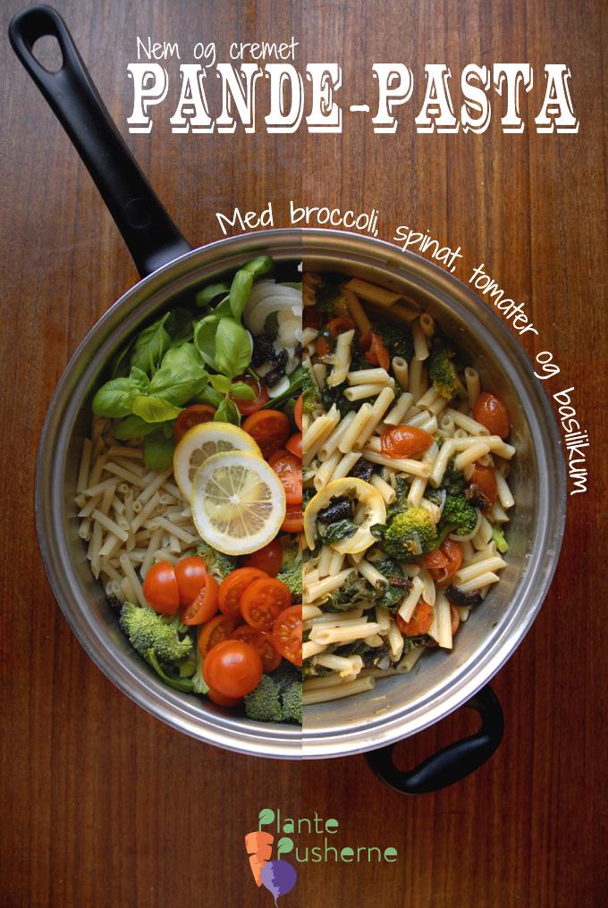 Pande-pasta – med broccoli, spinat, tomater og basilikum