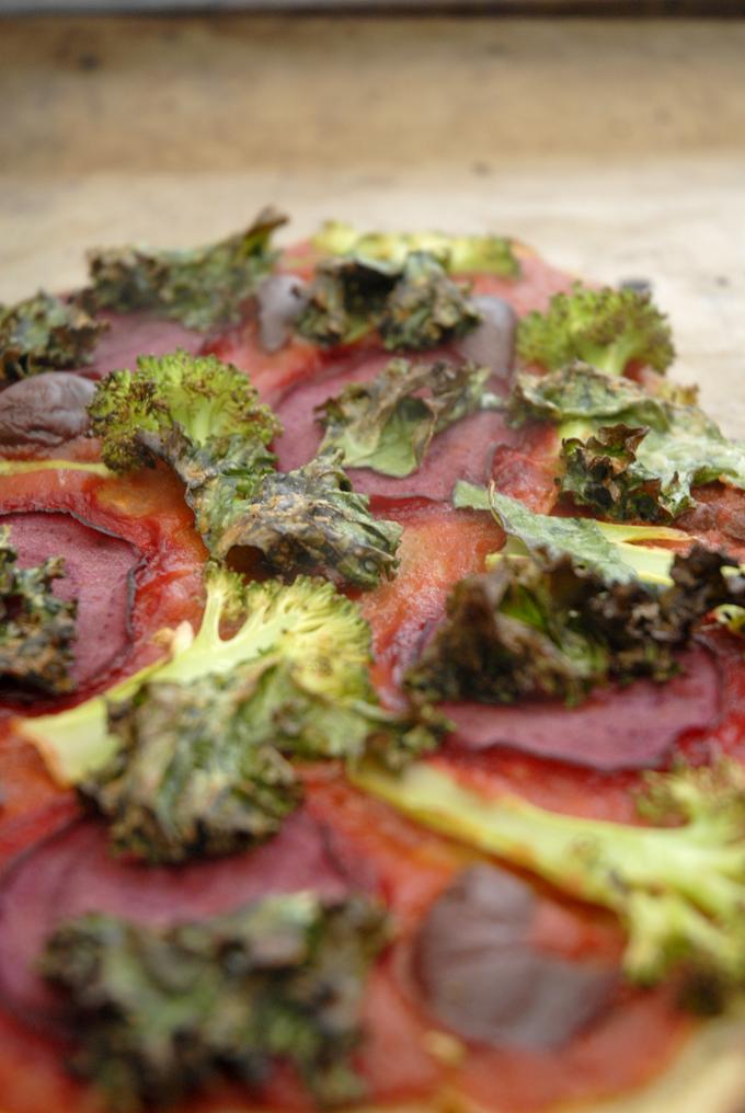 vegansk pizza grønkål