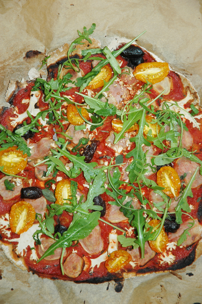 vegansk pizza ruccola
