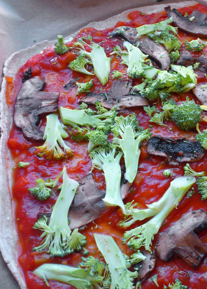vegansk pizza svampe