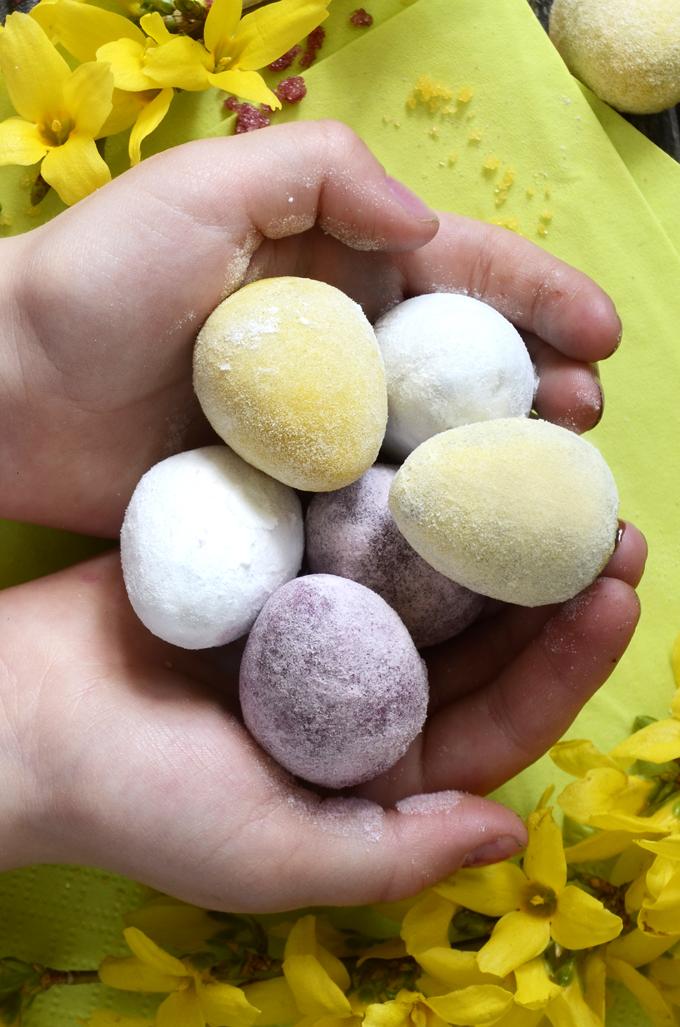 Homemade aquafaba Easter eggs