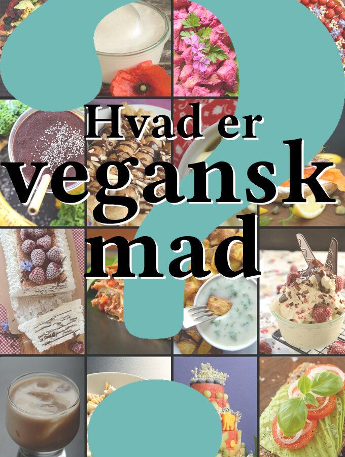 Collage af veganske madbilleder