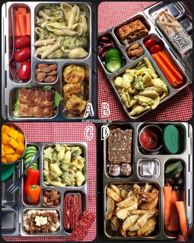 4 forskellige sunde madpakker til børn set oppefra fyldt med frugt, grønt og fuldkorn