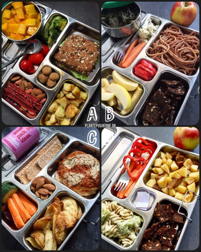 Farverig collage med fire idéer til veganske madpakker til børn