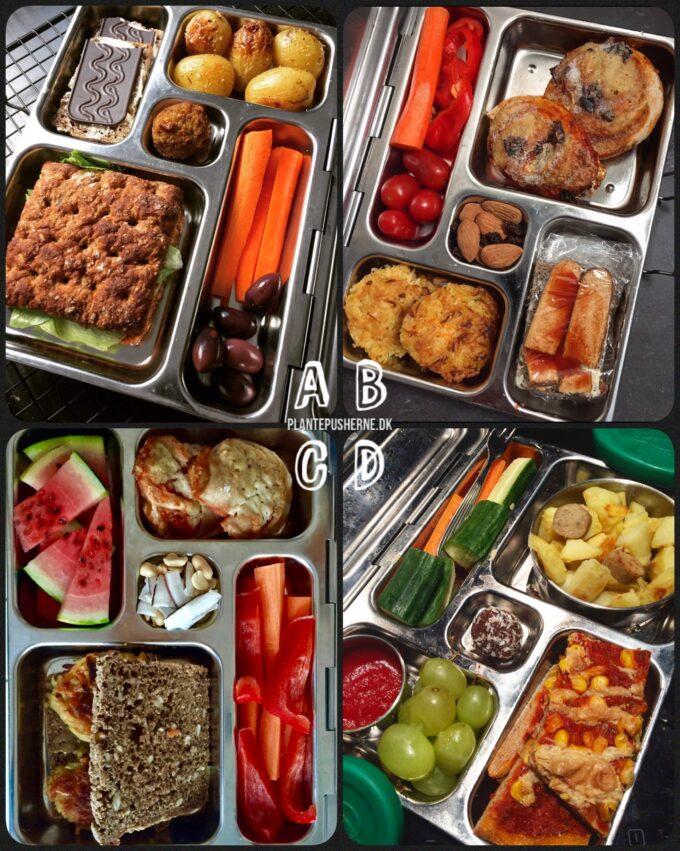 Collage med fire fyldte madkasser af stål