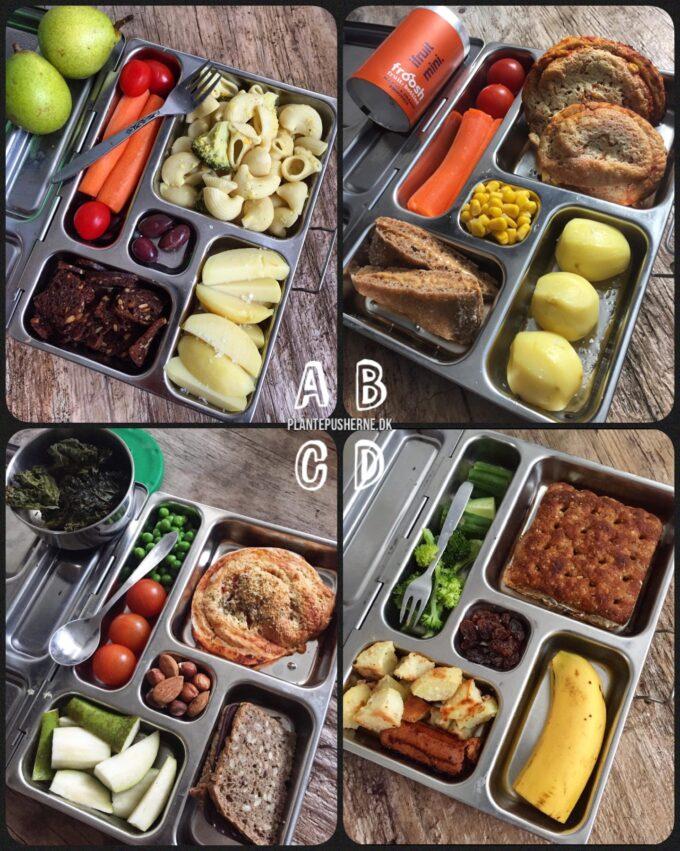 På et rustikt træbord ligger fire åbne madpakker med frokost til et barn. De består af kartofler, focaccia, pasta og grøntsager