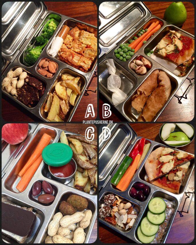 Fire åbne grønne madpakker med sund mad til børn