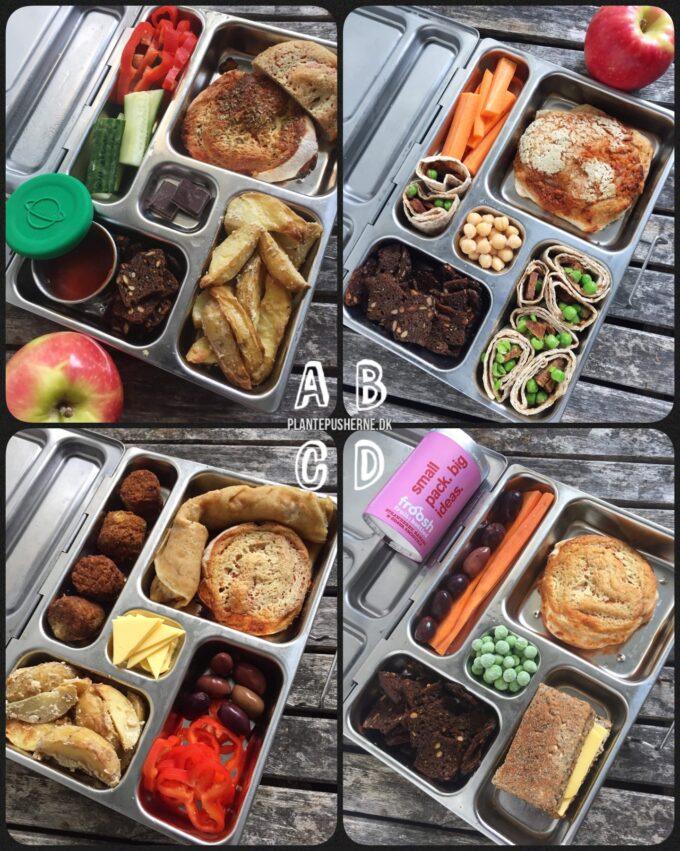 Fire forskellige ideer til madpakker til børn uden kød. De ligger i åbne madkasser af stål på en træbordplade