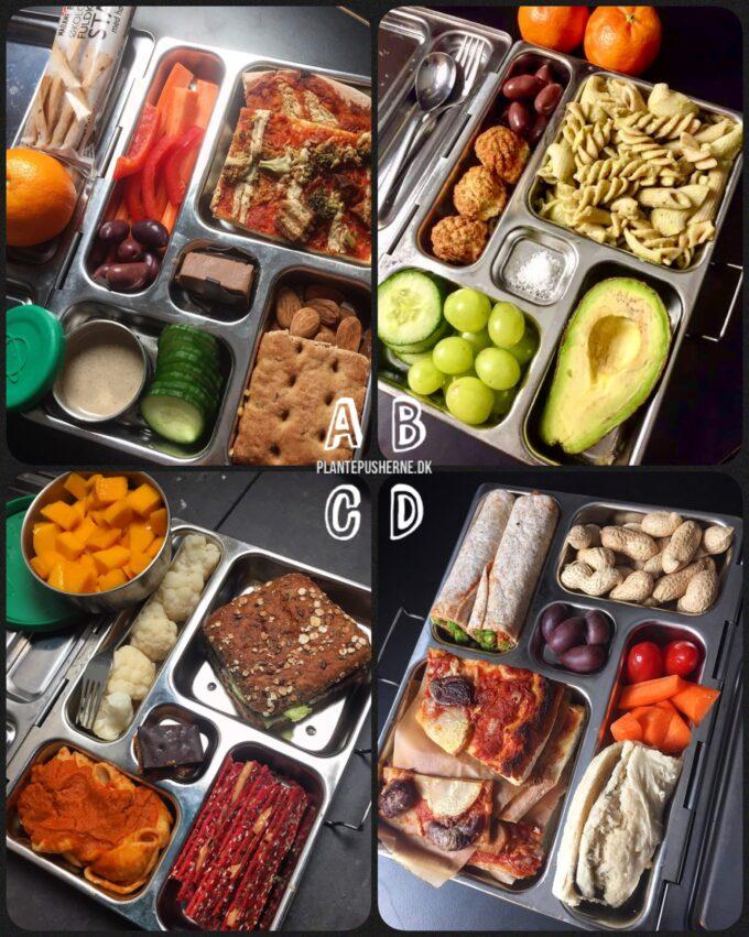 På sort baggrund ses fire vegetariske madpakker til børn